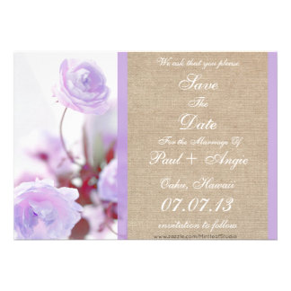 Shabby Chic Purple Peony Burlap Save The Date Personalized Announcements