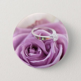 shabby chic purple rose floral bridal shower pinback button