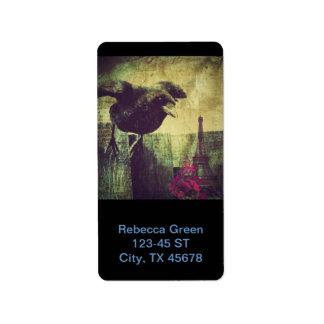 Shabby Chic Raven In Paris Custom Address Label
