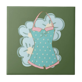 Shabby Chic Retro Floral Swimsuit2 on Kale Tile