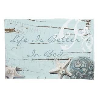 shabby chic Romantic beach blue Seashell Pillowcase