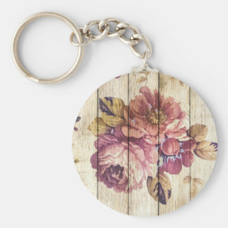 Shabby Chic Romantic Roses on Wooden Wall Keychain