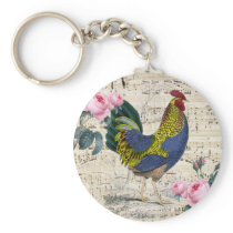Shabby Chic Rooster Keychain