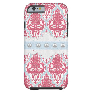 Shabby Chic Rose & Blue Damask Tough iPhone 6 Case