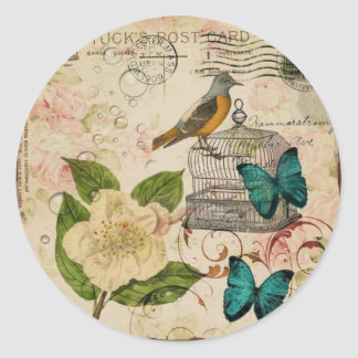 shabby chic rose botanical birdcage french bird classic round sticker