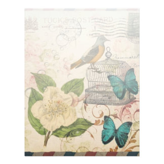shabby chic rose botanical birdcage french bird letterhead