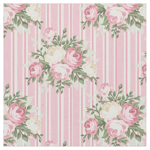 Shabby Chic Rose Bouquet overlaid on pink stripes Fabric