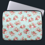 """Shabby chic rose computer sleeve<br><div class=""""desc"""">Gorgeous shabby chic rose bouquet pattern on light blue background</div>"""