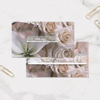 Shabby Chic Rose Floral Bridal Shower Elegant Business Card