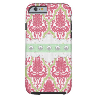 Shabby Chic Rose & Green Damask Tough iPhone 6 Case