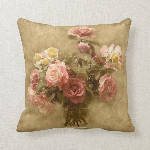 Shabby Chic Cottage Pillows : Shabby Chic Rose Pillow Zazzle