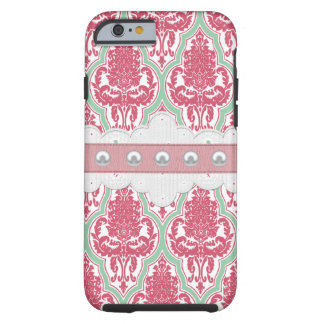 Shabby Chic Rose & Teal Damask Tough iPhone 6 Case