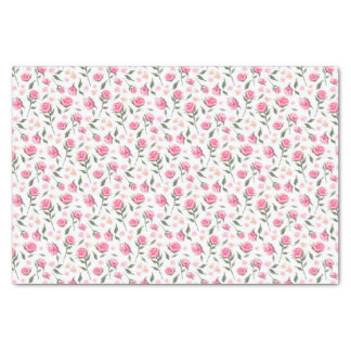 "Shabby Chic Roses Feminine Pretty Tissue Paper 10"" X 15"" Tissue Paper"