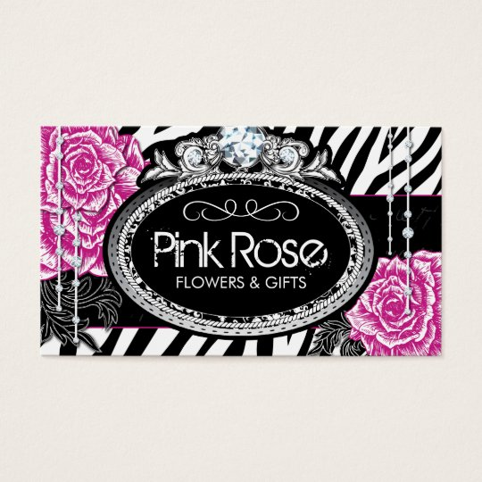 Shabby Chic Roses on Zebra Business Cards