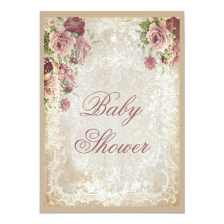 Shabby Chic Roses Pearls and Lace Baby Shower Card