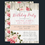 "Shabby Chic Roses Rustic Wood Birthday Invitation<br><div class=""desc"">Elegantly shabby and rustic! This sweet birthday design features beautiful pink and cream roses on light rustic wood. Gracefully stylish for a feminine birthday celebration at any age! • Customize it! Add your own text and adjust fonts and sizing as needed for the ultimate personalized party invitation. You may choose...</div>"