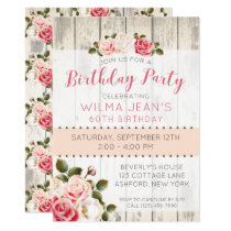 Shabby Chic Roses Rustic Wood Birthday Invitation
