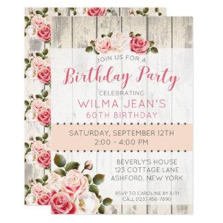 Shabby Chic Roses Rustic Wood Birthday Invitation