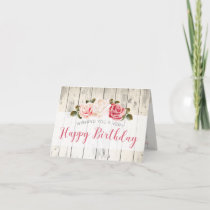 Shabby Chic Roses Rustic Wood Custom Birthday Card
