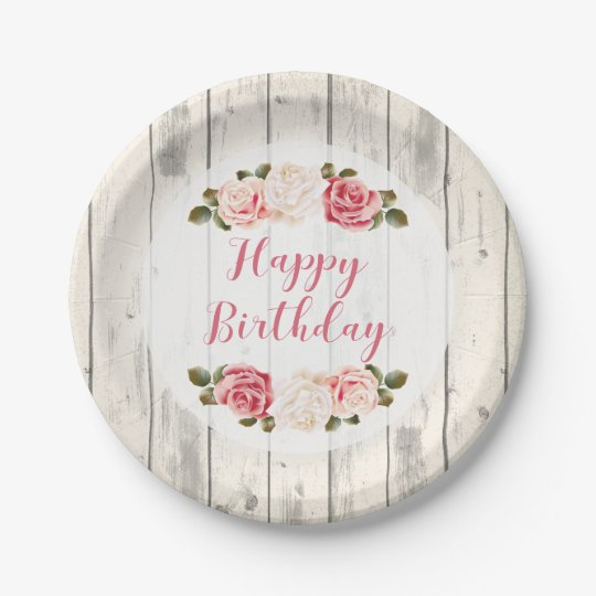 Shabby Chic Roses Rustic Wood Happy Birthday Paper Plate  sc 1 st  Zazzle & Shabby Chic Roses Rustic Wood Happy Birthday Paper Plate   Zazzle.com