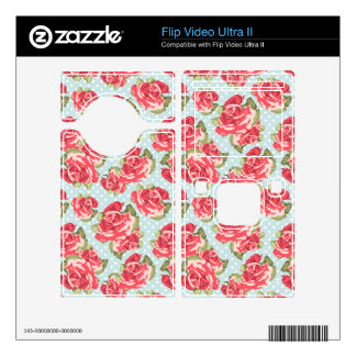 Shabby Chic Roses video camera skin Floral Vintage Decals For Flip Ultra II