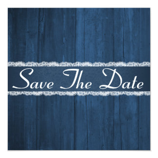 Shabby Chic Rustic Blue Wood Save The Date Card