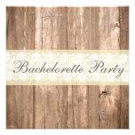 Shabby Chic Rustic Cream Bachelorette Party Custom Invitation