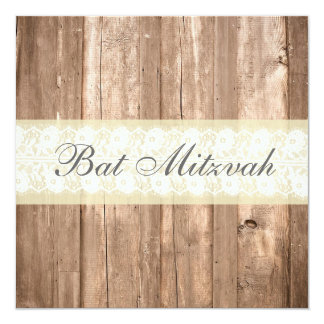 Shabby Chic Rustic Cream Bat Mitzvah Party Personalized Invitations