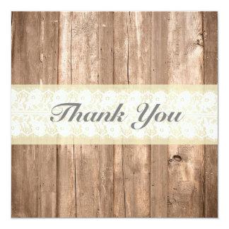 Shabby Chic Rustic Cream Thank You Card