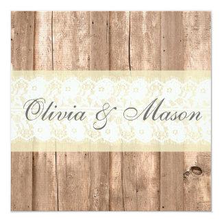 Shabby Chic Rustic Cream Wedding Invitation