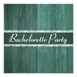 Shabby Chic Rustic Emerald Wood Bachelorette Party Custom Announcement