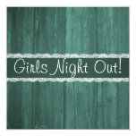 Shabby Chic Rustic Emerald Wood Girls Night Out Personalized Invite