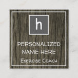 This rustic, shabby chic, and nature inspired business card design could be used by a fitness professional such as an exercise coach, strength coach, physical fitness consultant, or workout coach. The initial letter, name, profession and contact details can be customized.