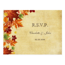 shabby chic Rustic ,fall leaves wedding RSVP Postcard