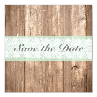 Shabby Chic Rustic Mint Save The Date Personalized Announcement