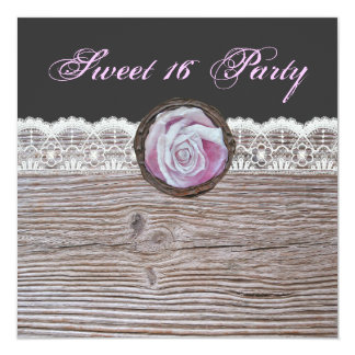 Shabby chic rustic pinks sweet 16 party invite