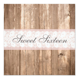 Shabby Chic Rustic Sweet Sixteen Birthday Party Card