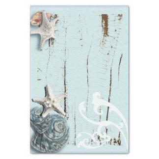 "shabby chic  rustic teal blue beach seashells 10"" x 15"" tissue paper"