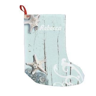 shabby chic  rustic teal blue beach seashells small christmas stocking