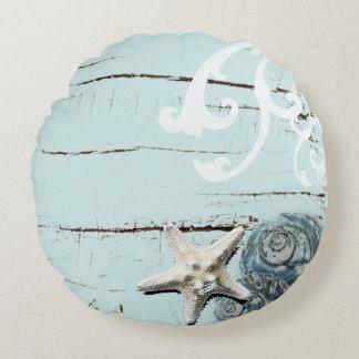 shabby chic  rustic teal blue beach seashells round pillow