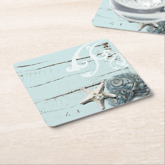 shabby chic  rustic teal blue beach seashells square paper coaster