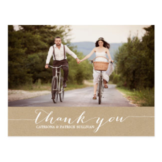 Shabby Chic Script Wedding Thank You Postcard
