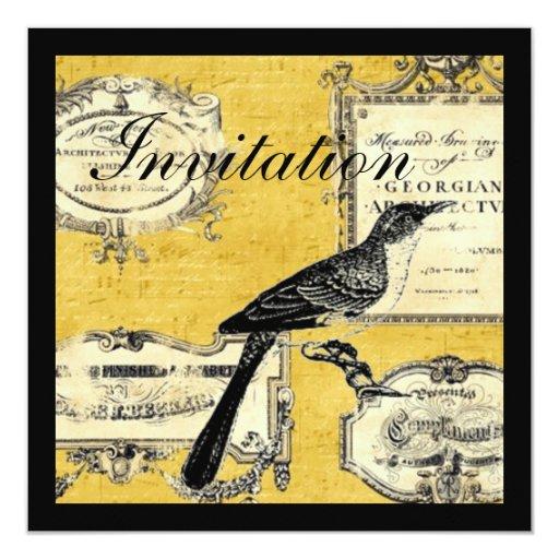 shabby chic scripts bird paris french 5.25x5.25 square paper invitation card