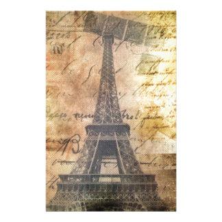 shabby Chic Scripts Vintage Paris Eiffel Tower Stationery
