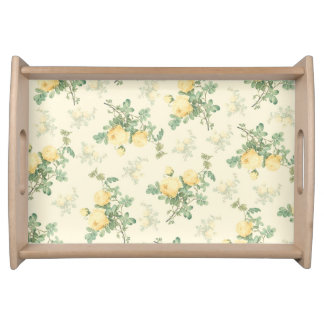 Shabby chic serving tray yellow roses