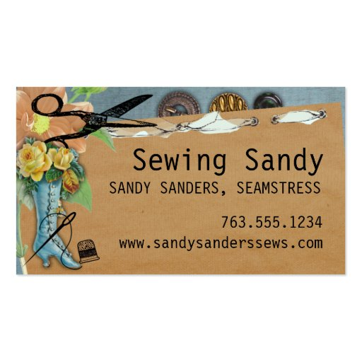 Shabby chic sewing boot scissors buttons biz cards business card