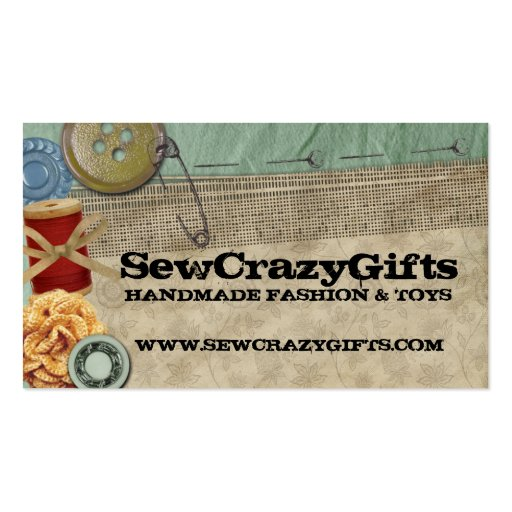 Shabby chic sewing buttons thread business cards