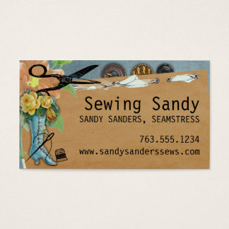 Shabby chic sewing notions boot scissors buttons business card