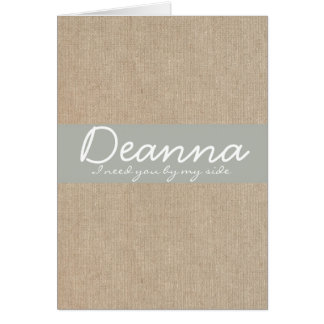 Shabby Chic Silver Sand Burlap Bridesmaid Request Card