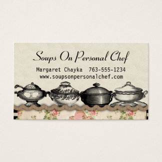 Shabby chic soup terrines chef catering biz cards